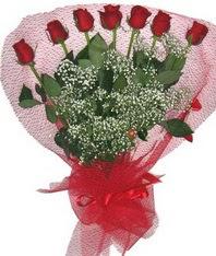 7 adet kipkirmizi gülden görsel buket  Nevşehir online çiçek gönderme sipariş
