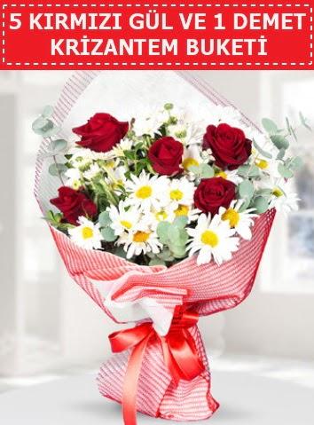 5 adet kırmızı gül ve krizantem buketi  Nevşehir güvenli kaliteli hızlı çiçek