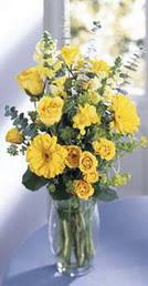 Nevşehir çiçek , çiçekçi , çiçekçilik  sari güller ve gerbera cam yada mika vazo