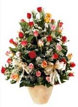 91 adet renkli gül aranjman   Nevşehir çiçek online çiçek siparişi