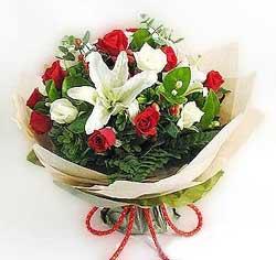 güller ve kazablanklardan görsel bir buket  Nevşehir çiçek yolla