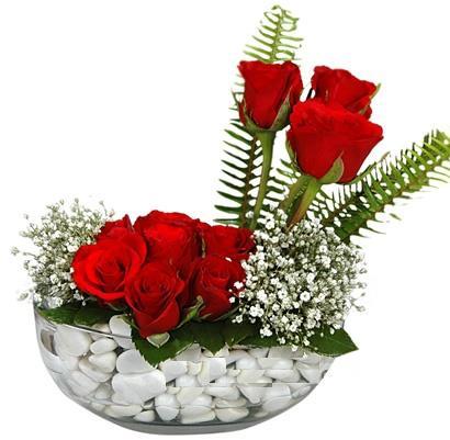 cam içerisinde 9 adet kirmizi gül  Nevşehir çiçek satışı