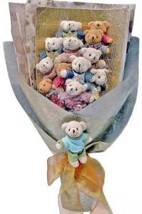 12 adet ayiciktan buket tanzimi  Nevşehir ucuz çiçek gönder