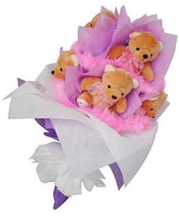 9 adet ayiciktan buket  Nevşehir çiçekçiler