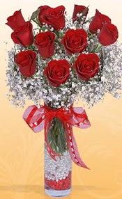 10 adet kirmizi gülden vazo tanzimi  Nevşehir çiçek gönderme sitemiz güvenlidir