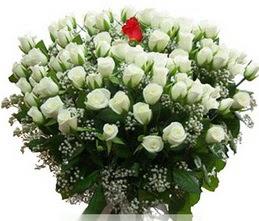 Nevşehir çiçek yolla  100 adet beyaz 1 adet kirmizi gül buketi