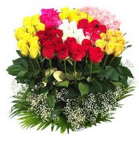 Nevşehir online çiçek gönderme sipariş  51 adet renkli güllerden aranjman tanzimi