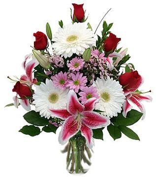 Nevşehir online çiçek gönderme sipariş  1 dal kazablanka 5 gül ve kırçiçeği vazosu