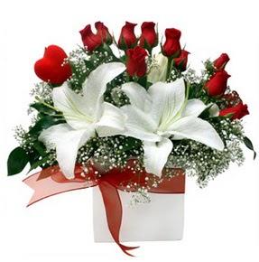 Nevşehir İnternetten çiçek siparişi  1 dal kazablanka 11 adet kırmızı gül vazosu