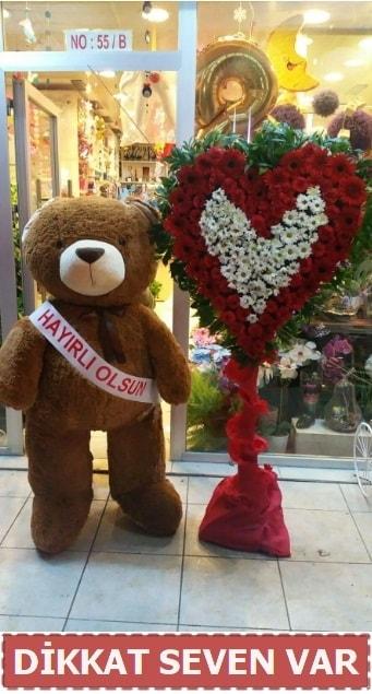 1.5 Metre peluş ayı ve Kalp  Nevşehir çiçek online çiçek siparişi