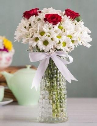 Papatya Ve Güllerin Uyumu camda  Nevşehir çiçek online çiçek siparişi