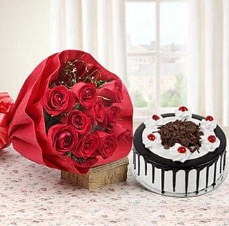 12 adet kırmızı gül 4 kişilik yaş pasta  Nevşehir yurtiçi ve yurtdışı çiçek siparişi