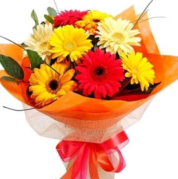 9 adet karışık gerbera buketi  Nevşehir yurtiçi ve yurtdışı çiçek siparişi