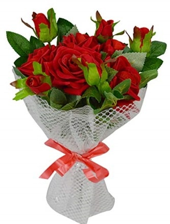 9 adet kırmızı gülden sade şık buket  Nevşehir kaliteli taze ve ucuz çiçekler