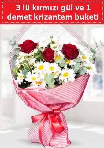 3 adet kırmızı gül ve krizantem buketi  Nevşehir çiçek online çiçek siparişi